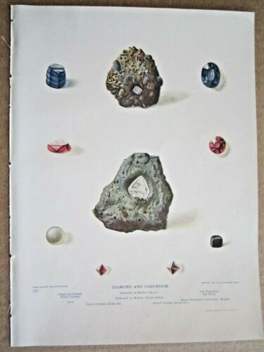 1902 ANTIQUE DIAMOND, RUBY, SAPPHIRE CORUNDUM STONES ROCKS LITHOGRAPH PRINT