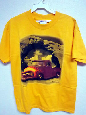 - Colorful Old Truck print on a gold T-shirt, 50% cotton poly youth (L) large