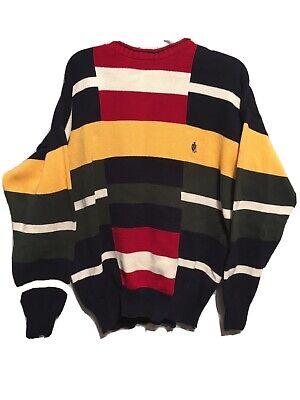 Rare NAUTICA Color Block Knit Sweater 90's Yachty Retro L Red Yellow VTG Read