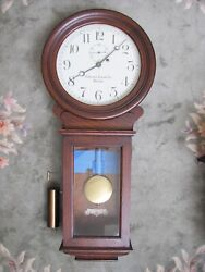Antique 1920's Chelsea Single Weight Regulator Wooden Wall Clock