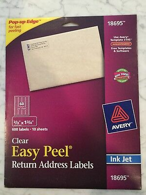 Avery Clear Return Address 600 Labels. 18695. Label Size 23 X 1 34. New.