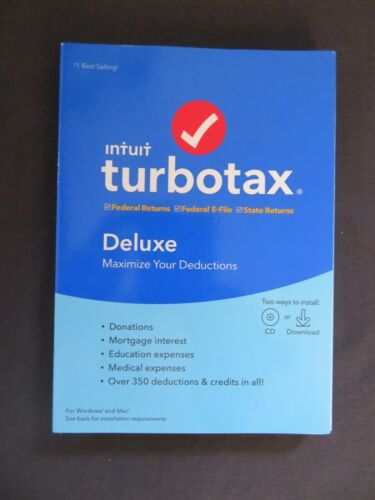 2019 Intuit TurboTax Deluxe Federal & State Windows Mac AUTHENTIC DOWNLOAD ONLY
