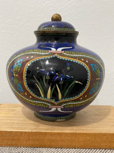 Antique Japanese Meiji Period Cloisonne Jar / Vase w/ Butterflies & Flowers Dec.