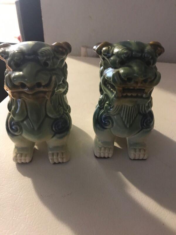 Vintage Uniquely Shishi Foo Dog Lion Ceramic Japanese Statues RARE!