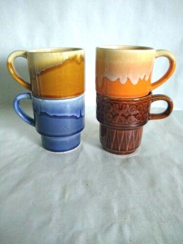 Set of 4 Vintage  Stacking Mugs Marked Japan