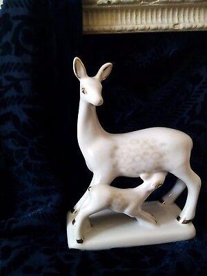 "Antique Russian Porcelain Figurine Statuette ""Deer feeds a Baby Deer"" USSR 1980s"