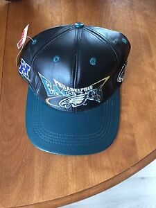 All Leather Philadelphia Eagles hat with tag attached