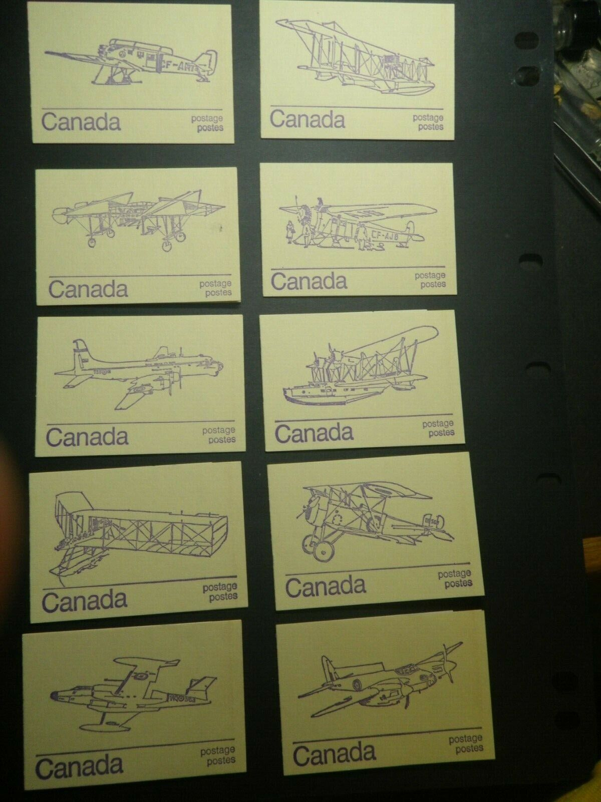 CANADA - 10 MNH 1976 PICTORIAL POSTAGE BOOKS WITH AIRCRAFT ON COVERS