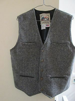 BNWOT Men's Schaefer Outfitters Ranch Wear Herringbone Wool Western Vest Size SM