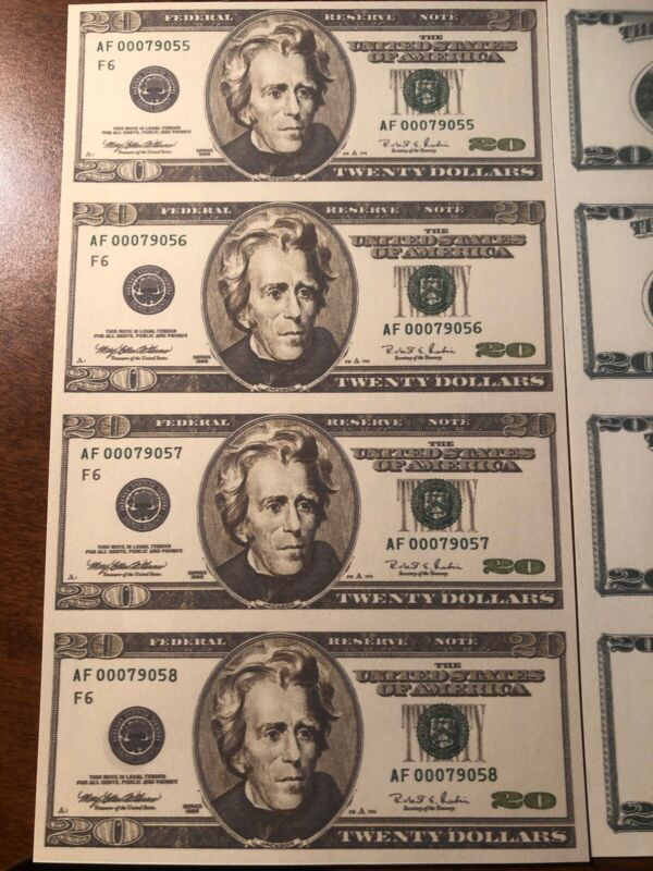 Copy 1996 $20 Uncut Reproduction Currency Money Sheet