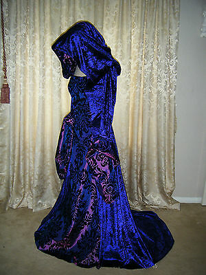 MEDIEVAL RENAISSANCE PURPLE  HOODED X LONG TRAIN GOTHIC GOWN