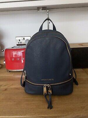 Beautiful MICHARL KORS Rhea Medium Navy Leather Backpack