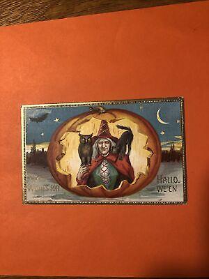 VINTAGE HALLOWEEN POSTCARD PM ON HALLOWEEN 1911 Good Wishes For Halloween