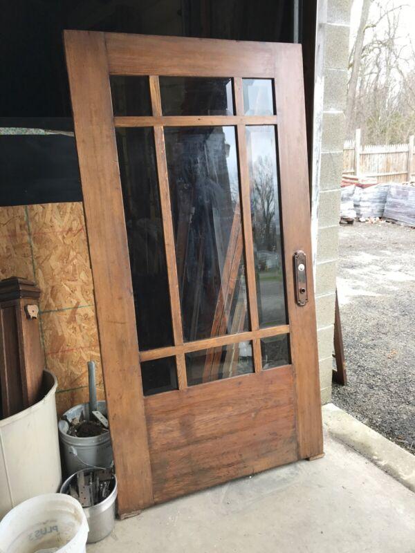 Bova 24 Antique Oak pine beveled glass entry door 41.75 x 79.5