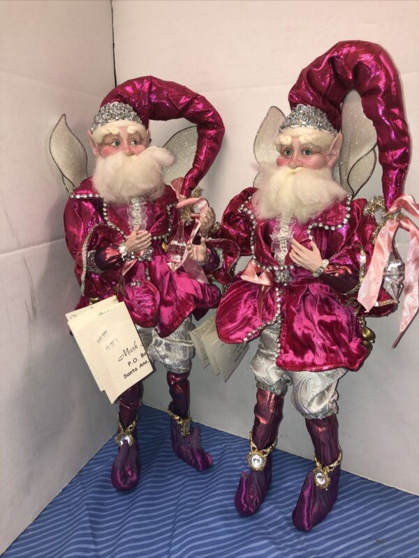 "Lot 2 MARK ROBERTS SPIRIT of HOPE Breast Cancer Fairy Gnome Pink LARGE 19"" 2008"