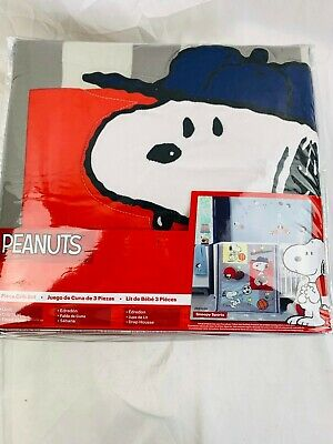Peanuts Baby 3-Piece Snoopy Sports Crib Bedding Set Red Gray Black NEW