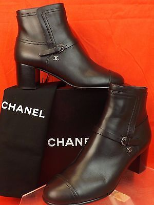 16A NIB CHANEL BLACK LEATHER BELTED SILVER BUCKLE CC LOGO ANKLE BOOTS 39.5 $1200
