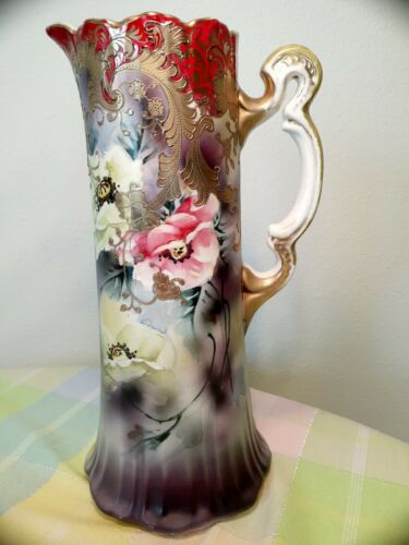 Large Antique Royal Nippon pitcher  hand painted flower red gold trim mark 12""