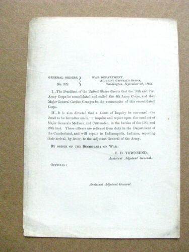CIVIL WAR  GEORGIA CHICKAMAUGA ORDER GENERAL MCCOOK COURTMARTIAL