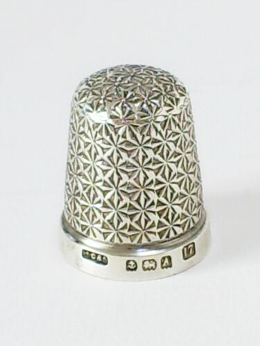 FINE VINTAGE ART DECO PERIOD HM SOLID SILVER SIZE 17 SEWING THIMBLE/H.G &S 1925