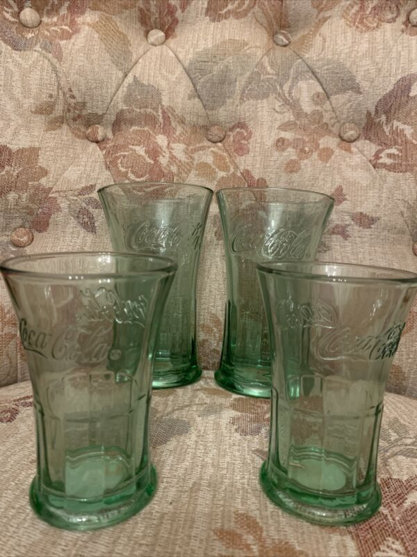"Set Of 4 Vintage Coca Cola Glasses 6"" And 4"""