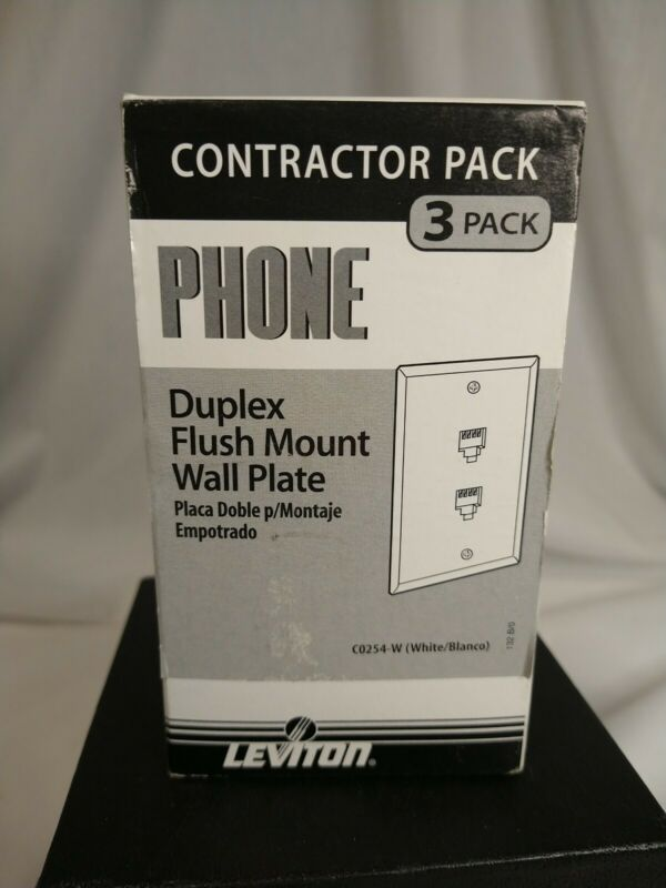 3 Leviton White DUPLEX Telephone Jack Flush Mount Wallplate Cover 6P4C C0254-W
