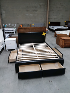 Brand New 4 Drawer Pu Leather Bed in Black or White