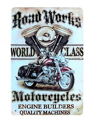 US SELLER, Rood Works Motorcycles Engine Builders metal sign modern home decor