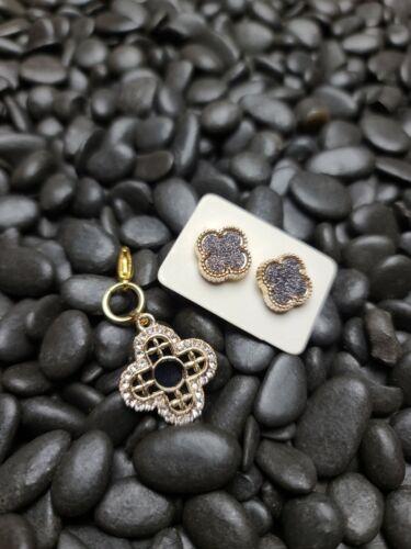 Bejeweled Black Gold Clover Zipper Puller and Earrings Set
