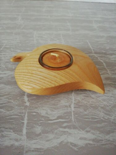 Teelichthalter Kerzenhalter aus Holz -  Lindenblatt & Teelicht