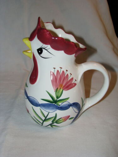 """Vintage Italian Pottery Rooster/ Chicken Pitcher 8-1/2"""" Tall  Painted Florals"""