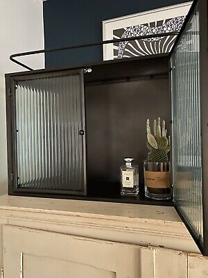 Vintage Industrial Metal Reeded Ribbed Fluted Glass Wall Bathroom Cabinet