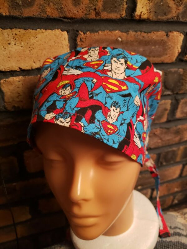 SUPERMAN.        Handmade SURGICAL SCRUB CAPS