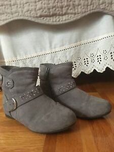 Grey Suede Boots Size 13 for Girls