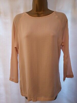 iBLUES by Max Mara UK 8/10 Pale Pink Top with Silk Blend 3/4 Sleeves 0105