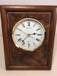 Vintage Seiko Japan Quartz Wall or Desk Table Clock Wood Frame #QXA117BLH Tested