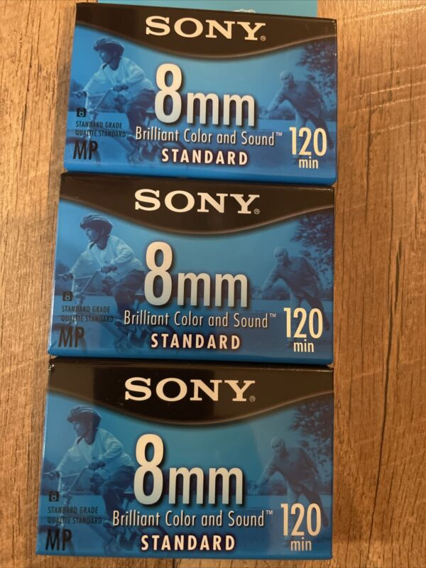NEW- SEALED- 3 Pack Sony 8 mm 120 minute MP 2 Standard Video Tape 1 High Grade