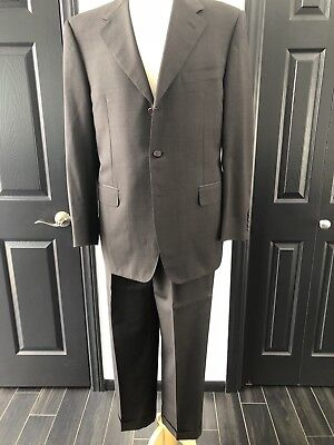 CANALI MENS SUIT solid wool brown 50R EURO Italy 3-button used for sale  West Hollywood