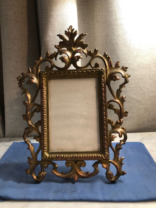 """Antique Victorian 12"""" Brass Picture Frame Ornate"""