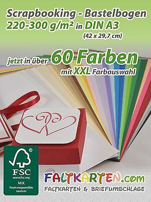 5x Scrapbooking - Bastelpapier DIN A3 (220-300g/m²) Blanko Design Papier