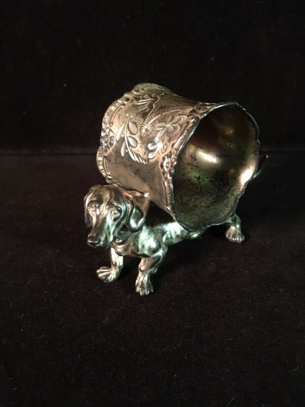 Vintage American Figural Napkin Ring/Dachshund/Silver Plate