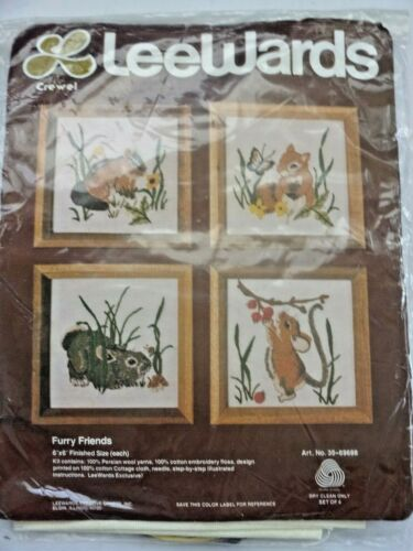 Vintage Lee Wards Furry Friends Crewel Embroidery Kit Factory Sealed