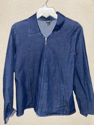 EILEEN FISHER Dark Denim Zip Front Cotton Blend Lightweight Jacket M