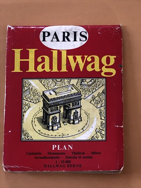 1973 HALLWAG PARIS FRANCE PICTORIAL CITY STREET / ROAD MAP