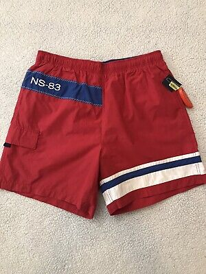 NWT Nautica L Mens Lined Swim Trunks Red Blue Cotton/Nylon Blend