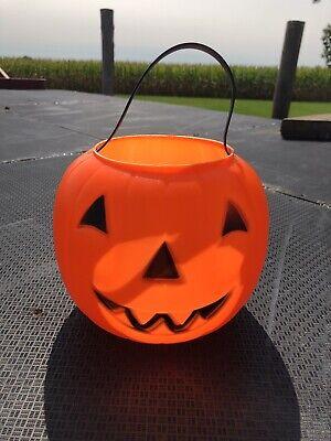 Halloween Blow Mold JOL Pumpkin Candy Pail Bucket Empire 1970 Rivet Handle