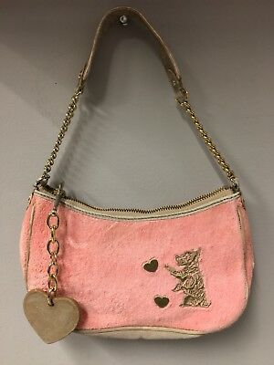 (Juicy Couture Pink Gold Terry Cloth Leather Scottie Dog Hearts Chain Purse)