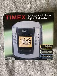New in Box Timex T301B Auto-Set Dual Alarm Digital Clock Radio - Silver & Black