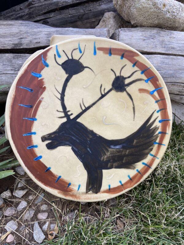 "Native American drum 10"" Hand drum pow wow Elk Earth Pigment Paints Design Drum"