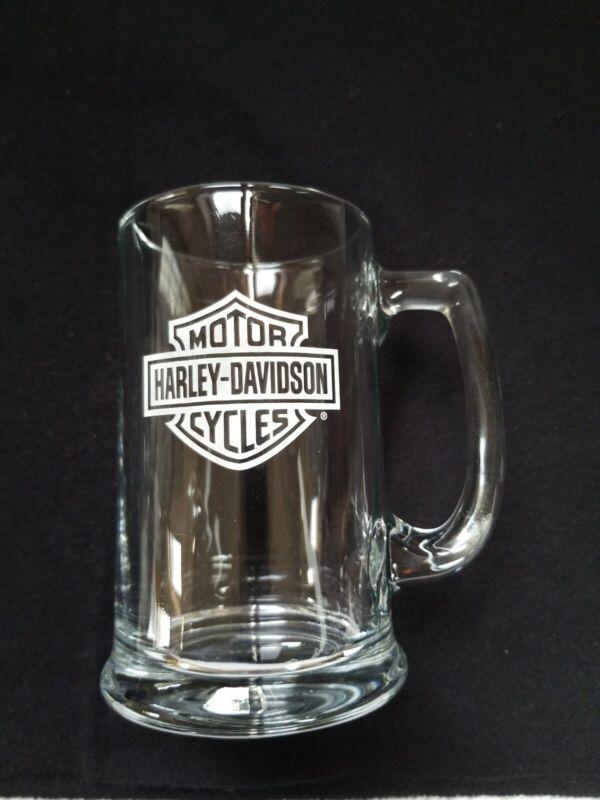 Harley Davidson Motorcycles Thick Etched Logo Glass Beer Mug